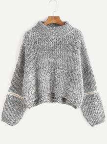 Grey Drop Shoulder Dip Hem Zipper Sweater