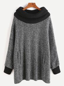 Grey Contrast Knit Trim Pockets Sweatshirt