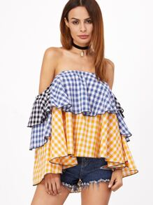 Multicolor Gingham Layered Off The Shoulder Top