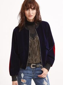Purple Pocket Front Contrast Panel Back Velvet Bomber Jacket