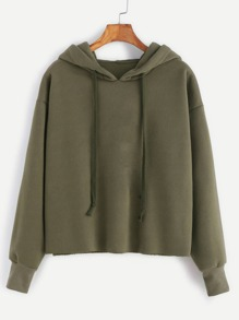 Army Green Hooded Raw Hem Sweatshirt