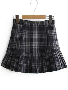 Navy Plaid Ruffle Hem Skirt