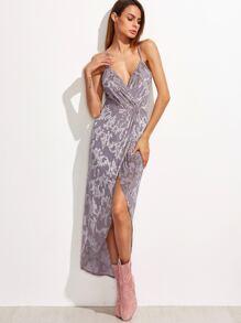 Purple Vine Print Surplice Wrap Crisscross Back Cami Dress