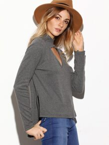 Grey Marled Crisscross Cutout Neck High Low T-shirt