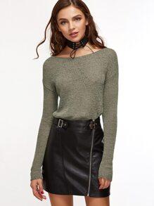 Olive Green Boat Neck Drop Shoulder Slim Fit Sweater