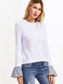 White Striped Bell Cuff T-shirt