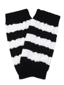 Black And White Stripe Knit Thermal Long Fingerless Gloves