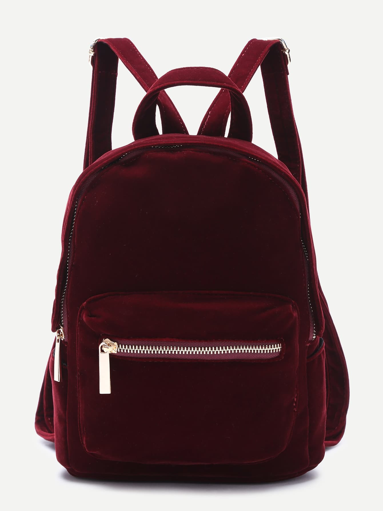 burgundy pocket front double handle velvet backpack emmacloth women fast fashion online. Black Bedroom Furniture Sets. Home Design Ideas