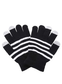 Black And White Striped Knit Gloves