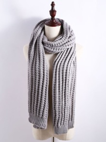 Grey Ribbed Chunky Knit Textured Scarf