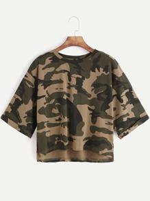 Olive Green Camo Print High Low Crop T-shirt