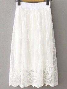 White Lace Overlay Elastic Waist Skirt