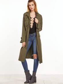 Olive Green Multi Pocket Drawstring Waist Coat