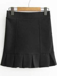 Black Ruffle Hem Cute Skirt