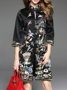 Black Collar Birds Embroidered Shift Dress