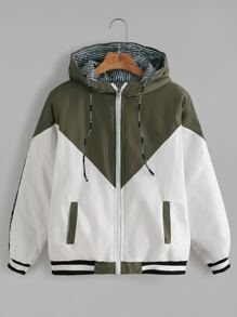 Contrast Letter Tape Side Striped Lining Drawstring Hooded Jacket