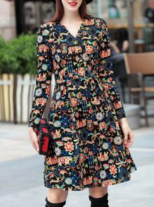 Multicolor V Neck Animals Print A-Line Dress