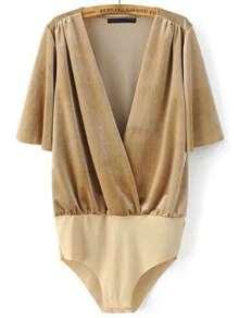 Khaki Deep V Neck Half Sleeve Velvet Bodysuit