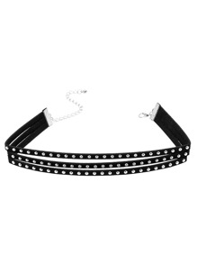 Black Triple Layer Studded Choker Necklace