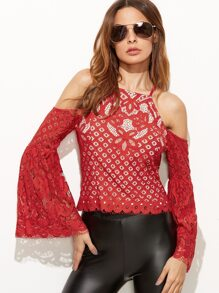 Red Cold Shoulder Bell Sleeve Hollow Out Lace Top