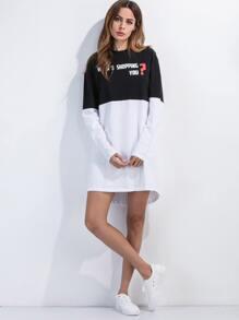 Color Block Slogan Print Dip Hem Tee Dress