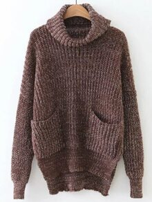Coffee Turtleneck High Low Sweater With Pocket