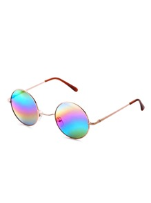 Gold Frame Colorful Lens Round Sunglass