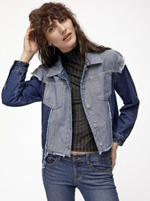 Contrast Button Up Frayed High Low Denim Jacket