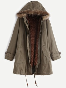 Faux Fur Trim Hooded Coat With Removable Lining