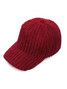 Red Ribbed Velvet Warm Baseball Cap