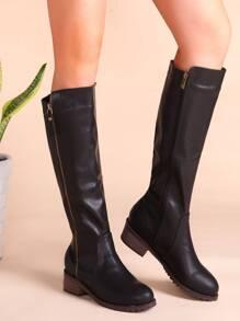 Black Faux Leather Side Zipper Cork Heel Knee Boots