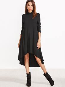 Black Cowl Neck High Low Swing Dress