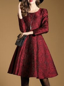 Red Jacquard A-Line Dress
