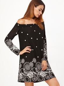 Black Vintage Circle Print Off The Shoulder Dress