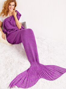Purple Marled Knit Textured Mermaid Blanket