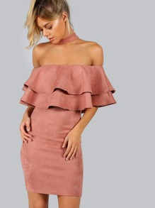 Pink Faux Suede Choker Neck Layered Ruffle Dress