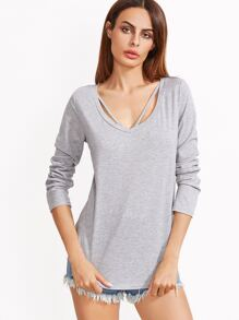 Heather Grey Strappy Curved Hem T-shirt