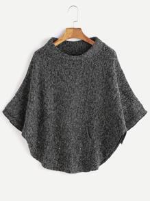 Dark Grey Turtleneck Poncho Sweater