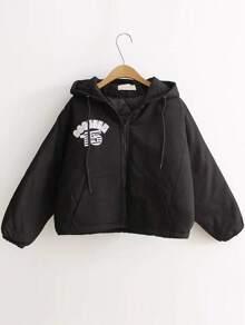 Black Letter Print Hooded Padded Coat