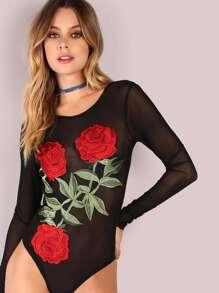 Long Sleeve Mesh Rose Embroiderey Bodysuit BLACK