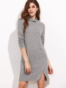 Grey Marled Ribbed Knit Cowl Neck Overlap Front Dress