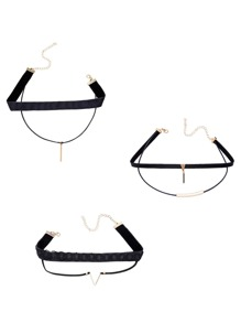 Black Layered Metal Trim Choker Necklace Set
