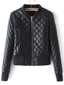 Black Zipper Quilted Diamond PU Jacket