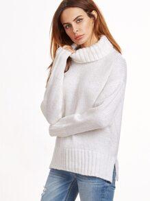 White Turtleneck Drop Shoulder Slit Sweater