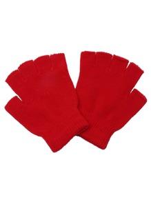 Red Plain Knit Textured Fingerless Gloves