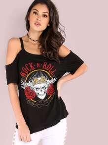 Cold Shoulder Rock N Roll Skull Graphic T-Shirt BLACK
