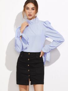 Blue Striped High Neck Tied Puff Sleeve Button Back Blouse