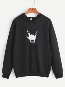 Black Hooded Gesture Print Sweatshirt