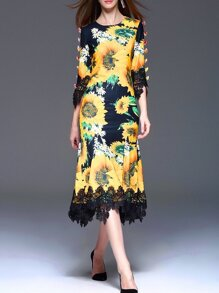 Black Sunflower Print Flowers Applique Dress