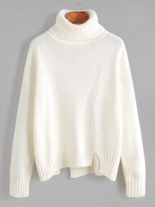 White Roll Neck Drop Shoulder Asymmetric Hem Sweater